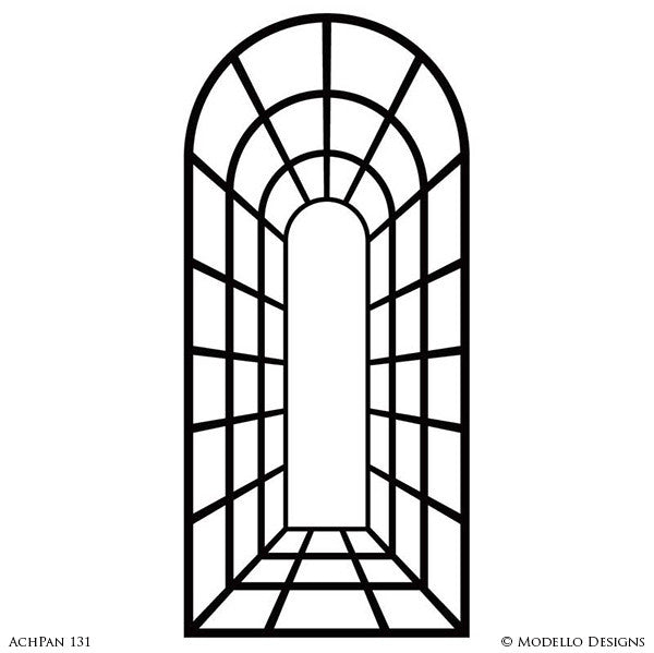 Painted Archway for Entry or Wall Art Designs - Custom Modello Wall Panel Stencils