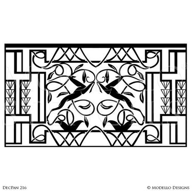 Peel and Stick Adhesive Art Deco Wall Art Stencils for Painting - Modello Custom Stencils