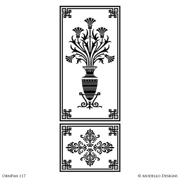 Tall Large Door Wall Window Panel Stencils for Art Deco Plant Flower Ornamental Style Decorating - Modello Custom Wall Stencils