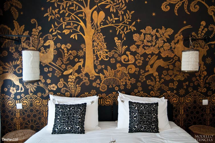 Large Custom Mural Painted with Art Deco Animals and Forest Wall Pattern - DecPan220 from Modello Designs