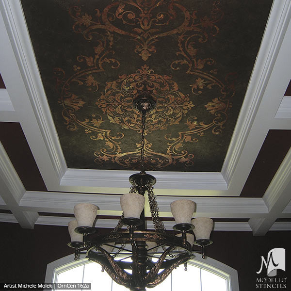 Large Medallion Patterns Painted and Stenciled in Custom Interior Murals and Ceilings