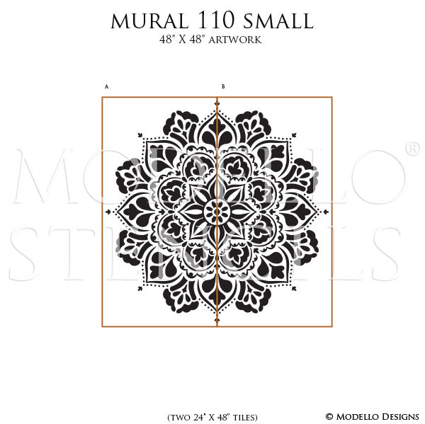Decorative Wall Mandala Art Paint Stencils - DIY Mural Stencils - Modello Designs Custom Wall Stencils