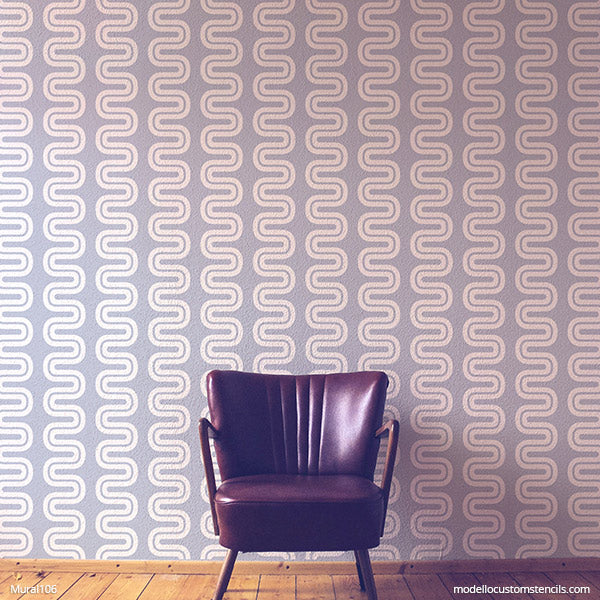 NEW! Seismic Wave Modern Wall Mural Stencil