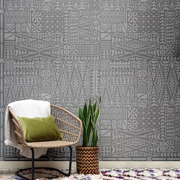 Large Murals for DIY Decor Ideas - African Wall Stencils, Tribal Art Mural Stencils - Modello Custom Wall Stencils