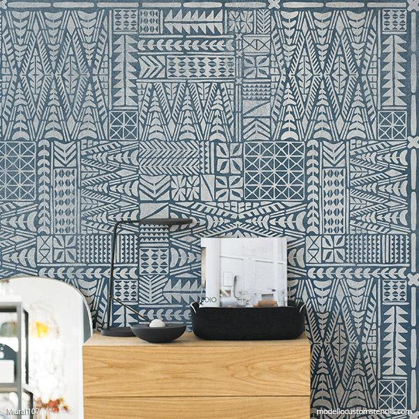 DIY Tribal Wall Art Stencils - Geometric Mud Cloth Mural Paint Stencils - Large Wall Stencils from Modello Custom Stencils