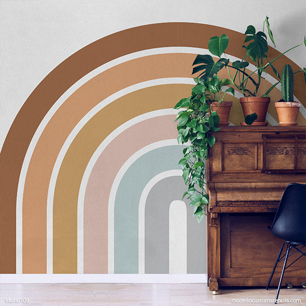 Large Rainbow Wall Mural Stencils Painting Diy Rainbows