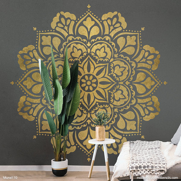 Large Mandala Mural Wall Art Stencils for Painting Walls - DIY Feature Wall Stencils - Painted Mandala Wall Pattern Stencil - Modello Designs Custom Wall Stencils