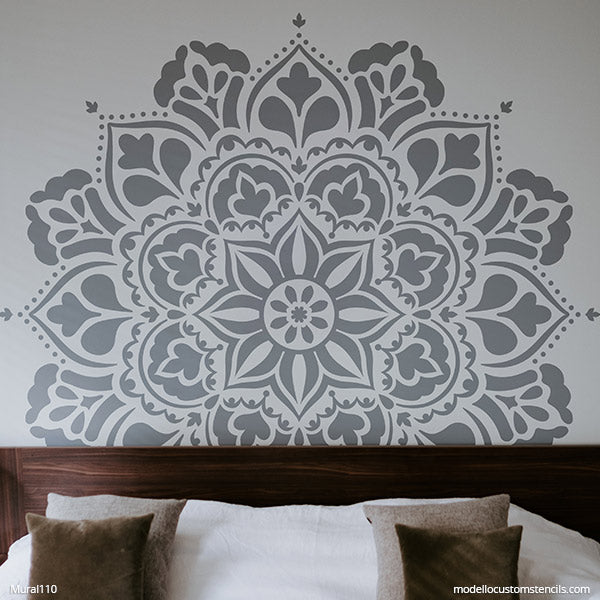 DIY Mandala Stencils for Painting DIY Mural Bedroom Wall Art - Bohemian Stencils - Large Mandalas Murals - Modello Custom Wall Stencils