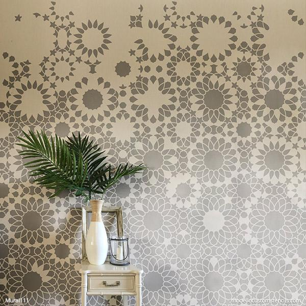 Large Wall Mural Design - Moroccan Tile Stencils - DIY Mural Stencil for Painting Accent Wall Decor - Moroccan Designs Custom Wall Stencils