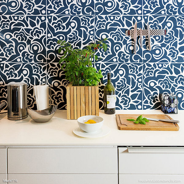 Abstract Mural Art Stencils Paint Wall Stencil Pattern - Modello Custom Stencils for Painting DIY Murals