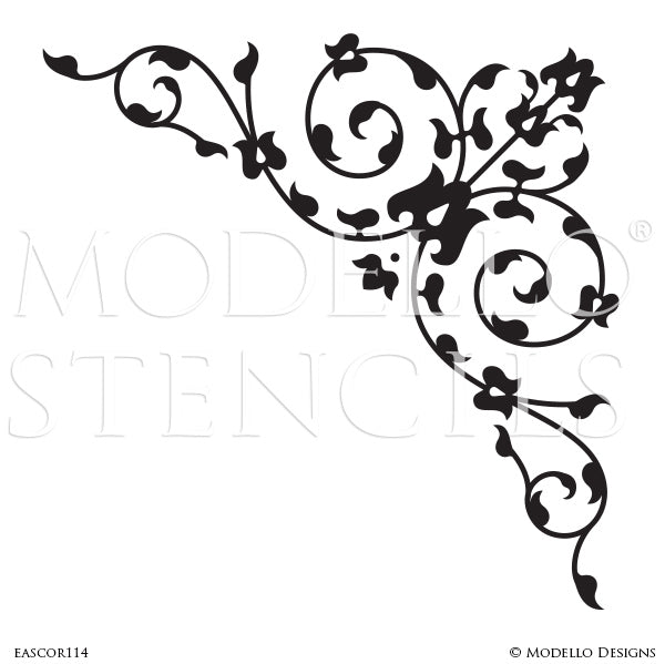 Decorative Wall Corner Pattern - Modello Custom Stencils for Painting