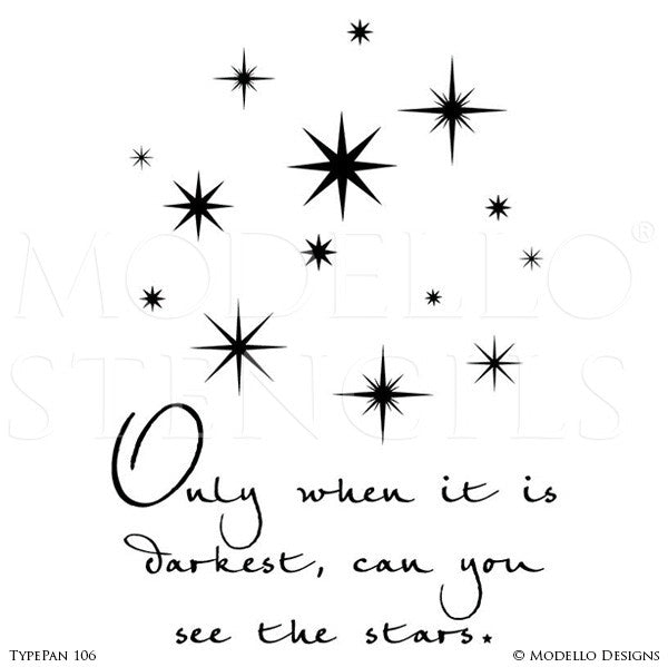 Stars Wall Quote - Custom Painted Decor and Typography Wall Stencils from Modello Designs