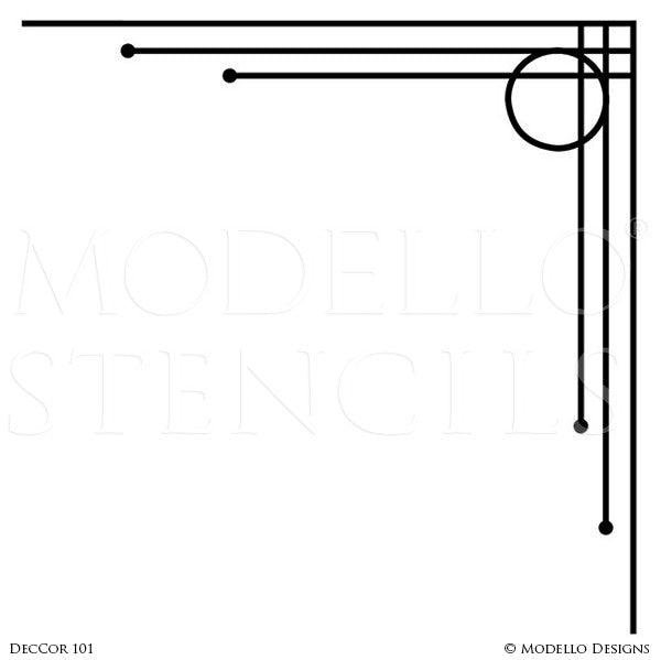 Art Deco Modern Ceiling or Wall Corners Stencils - Modello Designs Stencils