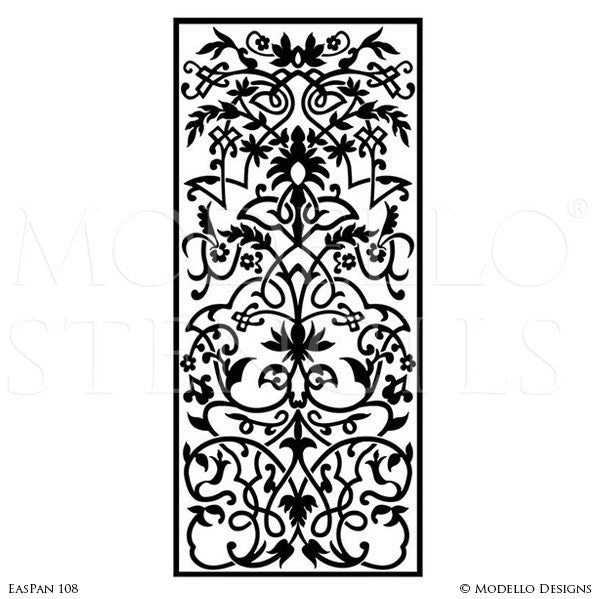 Large Designer Stencils to Peel and Stick Custom Painted Designs on Glass Doors, Walls, Floors - Modello Custom Panel Stencils
