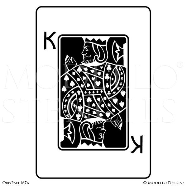Large King Playing Card Wall Art - Decorative Wall Mural Graphics Stencils - Modello Custom Stencils