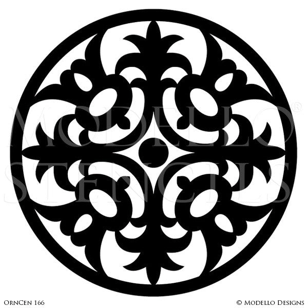 Painted Medallions Stencils for Traditional Wall Decor - Modello Custom Stencils