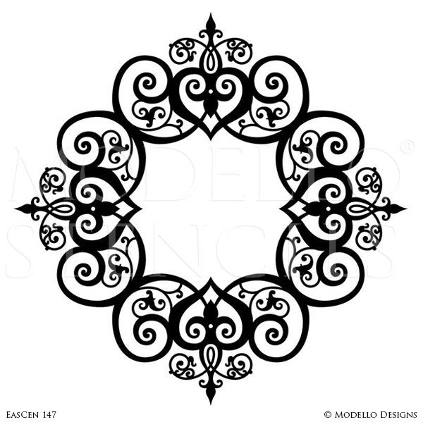 Adhesive Vinyl Stencils for Painting Decorative Ceiling Medallion Designs
