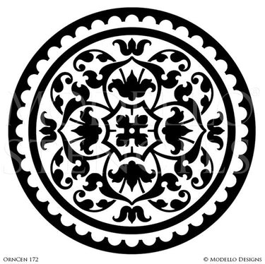 Ornamental and Decorative Ceiling and Floor Stencils - Modello Custom Designer Medallion Stencils