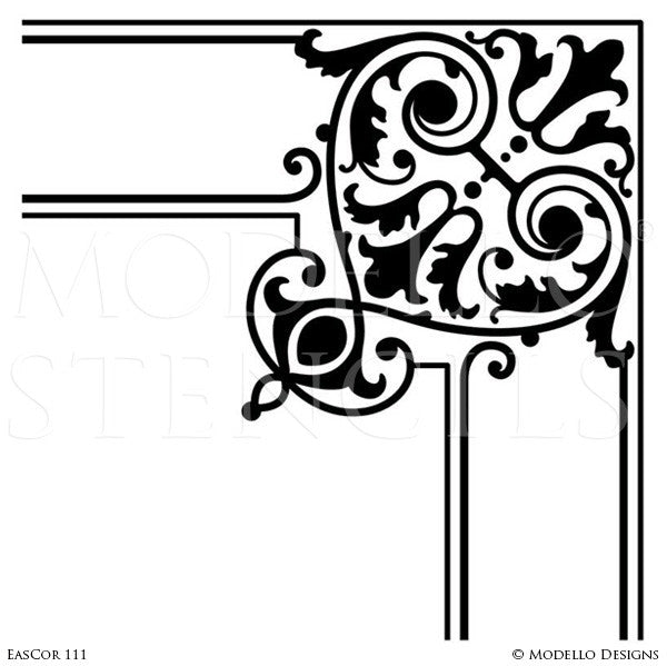 Decorative Corner Stencils for Stenciling Ceiling or Wall Designs - Modello Custom Stencils