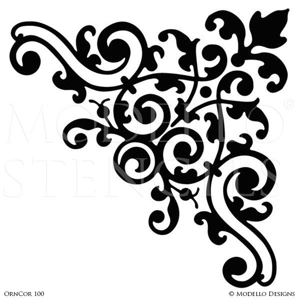 Large Corner Stencils for Decorating Wall and Ceiling - Modello Custom Adhesive Stencils