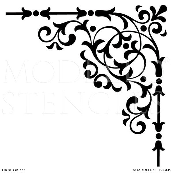 Ornamental and Decorative Wall Art Stencils for Painting Classic Home Decor - Modello Custom Designer Corner Stencils