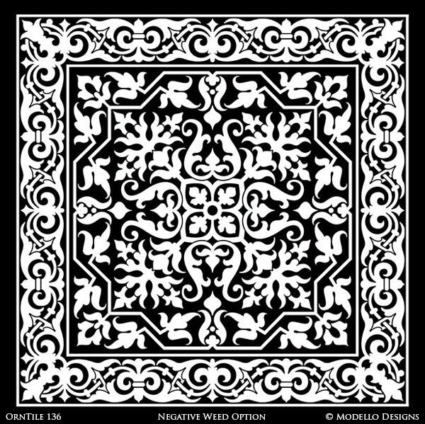 Ornamental Decorative Tiles for Easy Stenciling and Interior Decorating with Custom Patterns - Modello Custom Stencils