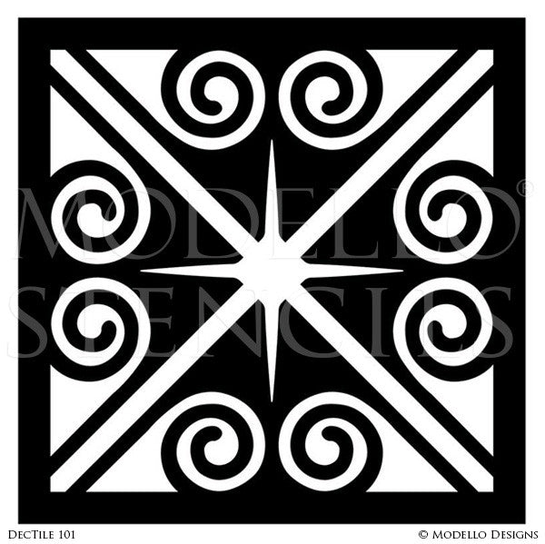 Art Deco Design and Painted Decor - Tile Stencils from Modello Custom Stencils