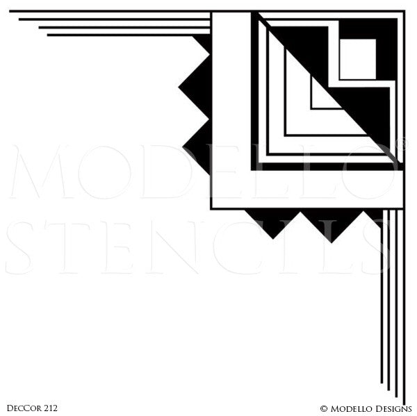 Art Deco Interior Design Geometric Ceiling Wall Corners - Modello Custom Stencils