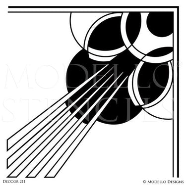 Art Deco Design and Painted Decor - Modern Corner Stencils from Modello Custom Stencils
