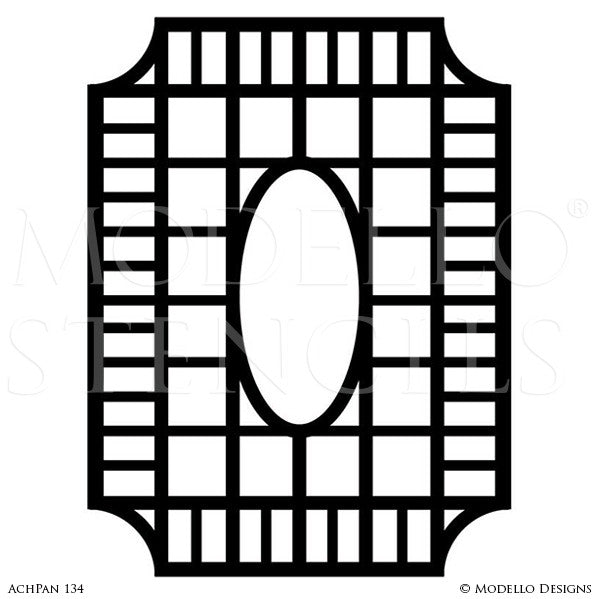 Large Geometric Panel for Painting Custom Wall Art Stencils - Modello Stencils