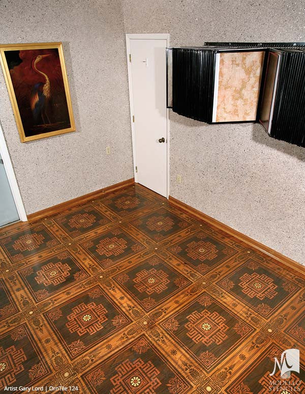 Modern Tile Patterns Painted and Stained on Wood Floors - Modello Custom Stencils