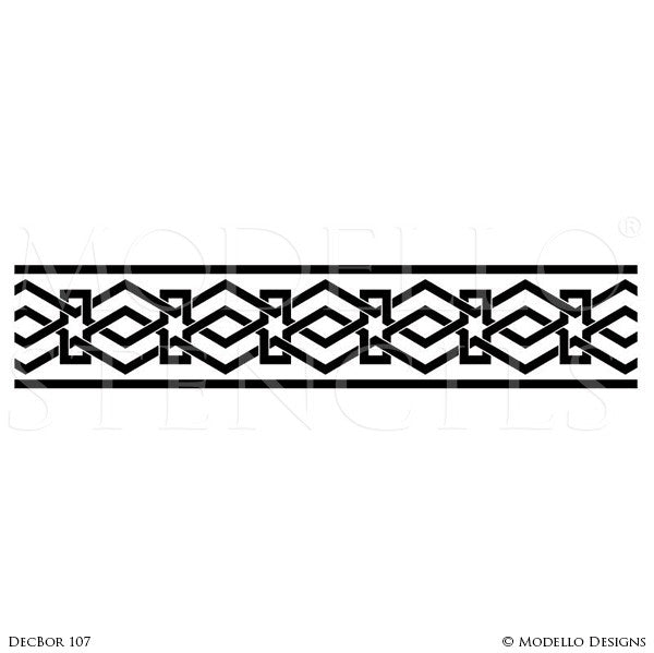 Modern Geometric Shapes Painted Wall Border Stencils - Modello Custom Stencils