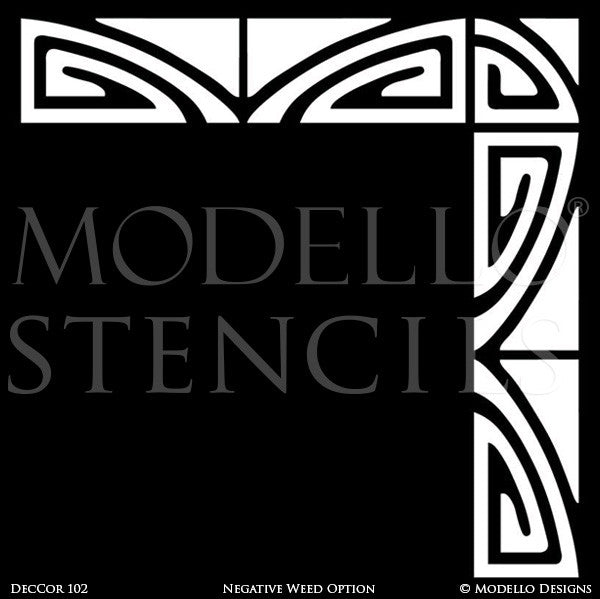 Modern and Geometric Patterns - Colorful Corner Stencils for Walls and Floors - Modello Designs