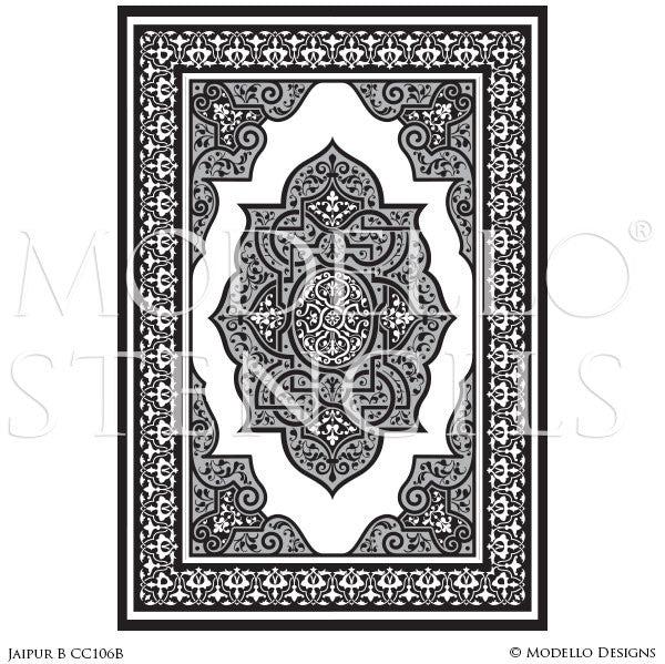 Indian, Asian, and Tribal Decor and Modern Interiors - Modello Custom Floor Carpet Panel Stencils
