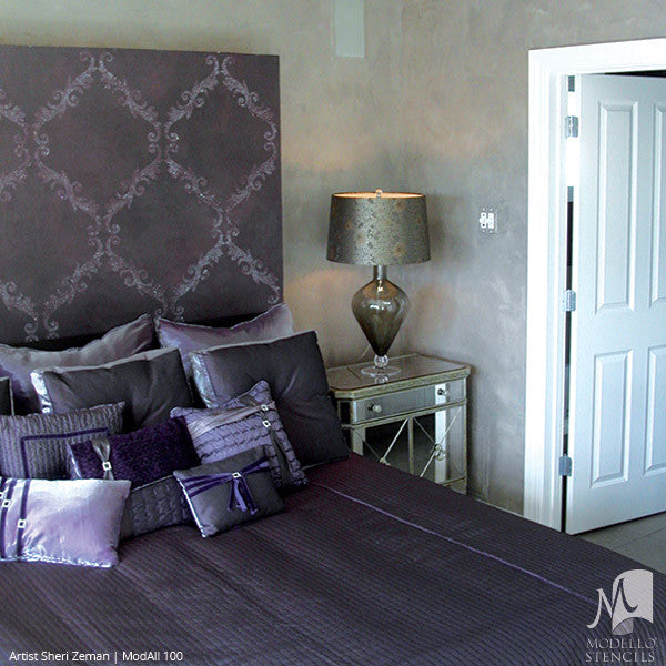 Purple Painted Bedroom Makeover with Large Wall Stencils - Modello Designs