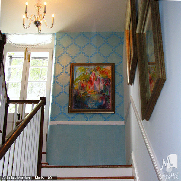 Blue Painted Walls with Custom Designed Wall Stencils - Modello Designs
