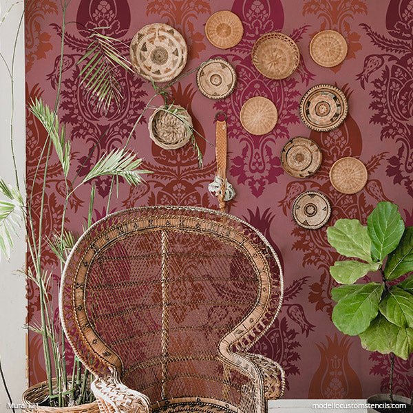 Boho Wallpaper Suzani Damask Stencils DIY Decorative Mural Art Stencil - Modello Custom Stencils for Painting