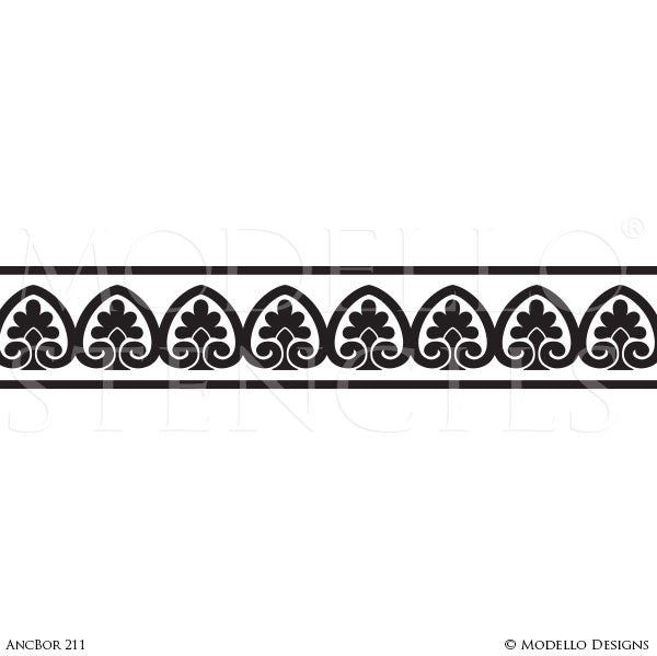 Classic European, Victorian, French Ceiling Borders - Painted Decor Custom Stencils - Modello Designs