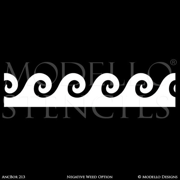 Grecian Greek Decor Style using Painted Border Ceiling Stencils - Modello Custom Stencils