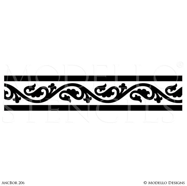 Custom Decorative Border Stencils for Colorful Floors or Walls - Modello Designs
