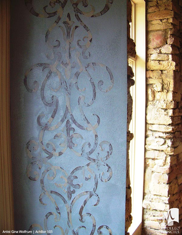 Wall Art and Wall Mural Border Painted onto Custom Home Decor Projects - Modello Custom Stencils