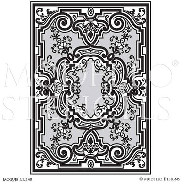 Vinyl Sticker Stencils with Ornamental European Designs and Custom Patterns on Floor Carpet Ceiling - Modello Custom Stencils