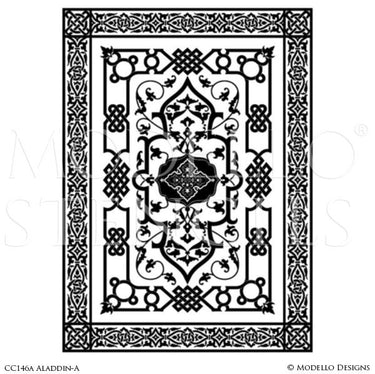 Painting Large Carpets Panels on Decorative Concrete or Ceilings - Modello Custom Stencils
