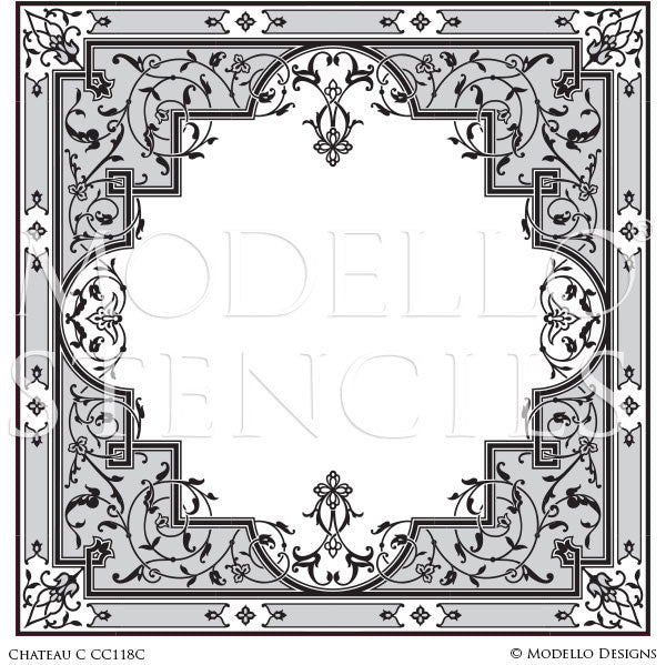 Large Square Carpet Panel or Wall Art with Painted Designs - Modello Custom Stencils