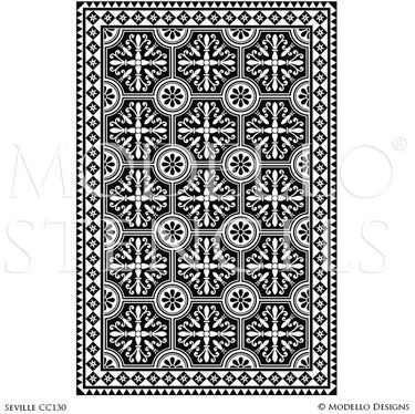 Large Geometric Floor Pattern - Carpet Panel Designs for Painted Floors - Modello Custom Stencils