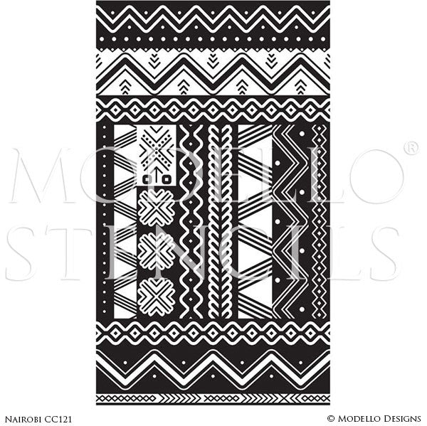 Geometric Tribal Patterns Painted on Concrete Floors and Faux Carpet Panels - Modello Custom Stencils