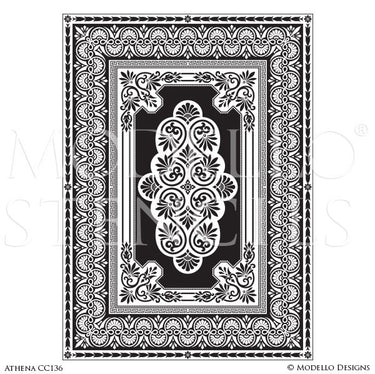 Large Adhesive Patterns Stenciled on Carpet Floors or Ceiling Decor - Custom Medallion Stencils