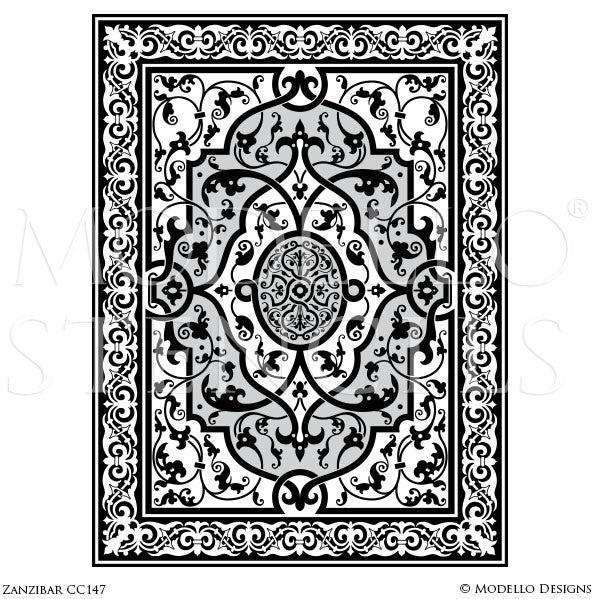 Exotic and Global Boho Chic Decor Idea - Painted Ceiling Panels or Carpet Panel Stencils from Modello Custom Stencils