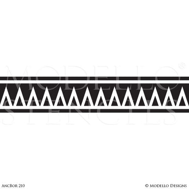 Geometric African and Tribal Pattern for Painted Accent Walls - Royal Design Studio Wall Border Stencils