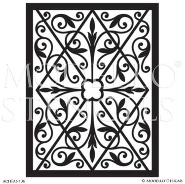 Custom Cut Panel Stencils for Painting Ceilings with Large Patterns - Modello Custom Self Adhesive Stenciling